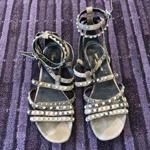Saint Laurent camo studded sandals